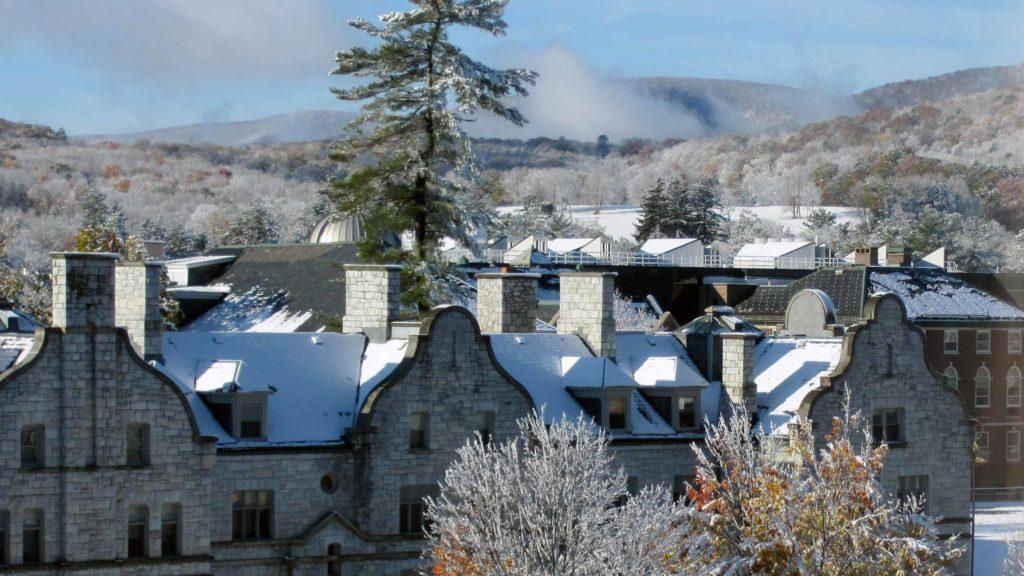 Williams College science quad in the snow.